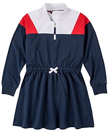Big Girl Color Block Sweatshirt Dress with Quarter Zip