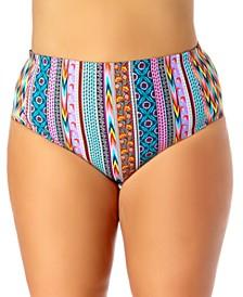 California Waves Trendy Plus Size High Waist Bikini Bottoms