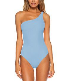 Fine Line Textured Rib Asymmetrical One-Piece Swimsuit