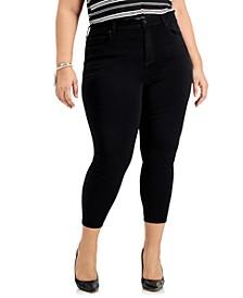 Trendy Plus Size Black Skinny Ankle Jeans