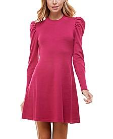 Juniors' Puff-Sleeve A-Line Sweater Dress