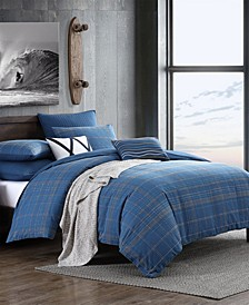 Splendid Caspian Textured Slub Plaid 3 Piece Comforter Set, King/California King