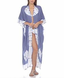 Tie-Dye Kimono Maxi Cover-Up