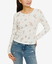 Juniors' Floral Pointelle-Knit Top
