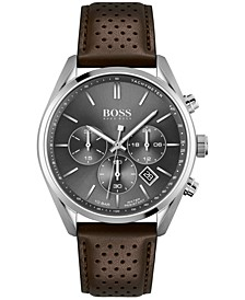 HUGO Men's Chronograph Champion Brown Leather Strap Watch 44mm