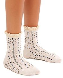 Rosebud Waffle-Knit Ankle Socks