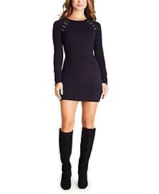 Juniors' Grommet-Trim Bodycon Dress