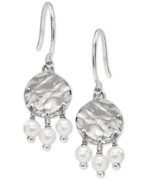 Hammered Disc & Shaky Imitation Pearl Drop Earrings