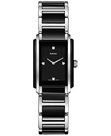 Women's Swiss Integral Diamond Accent Black Ceramic & Stainless Steel Bracelet Watch 22x33mm