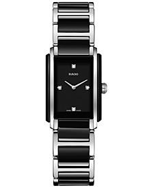 Women's Swiss Integral Diamond Accent Black Ceramic & Stainless Steel Bracelet Watch 22x33mm