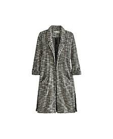 Women's Plus Size 3/4 Sleeve Tweedy Duster Cardigan