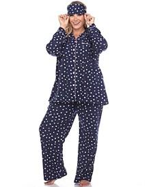 Women's Plus Size Pajama Set, 3 Piece