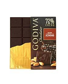Set of 10, Large Dark Chocolate Almond Nut Bars