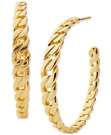 "Gold-Tone Sterling Silver Medium Chain-Link Open Hoop Earrings, 1.2"""