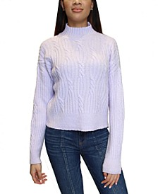 Juniors Cable-Knit Mock Neck Sweater