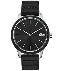 Men's Lacoste 12.12 Black Silicone Strap Watch 44mm