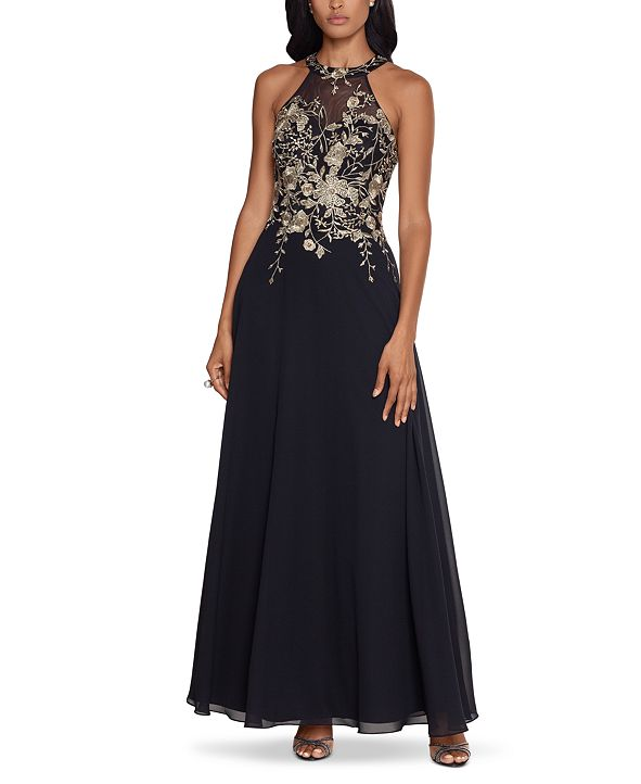 Betsy & Adam Embellished Chiffon Illusion Gown