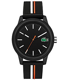 Men's Lacoste 12.12 Black Silicone Strap Watch 42mm