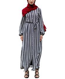 Women's Striped Button Down Maxi Dress