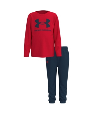 Under Armour TODDLER BOYS CORE LOGO LONG SLEEVE T-SHIRT AND PANT SET