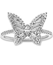 Cubic Zirconia Butterfly Statement Ring in Sterling Silver, Created for Macy's