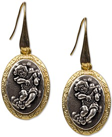 Two-Tone Cherub Oval Drop Earrings