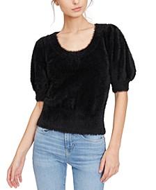 Fuzzy Puff-Sleeve Sweater