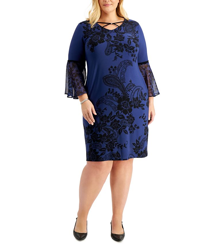 JM Collection - Plus Size Printed Chiffon-Sleeve Dress