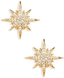 Gold-Tone Pavé Celestial Stud Earrings