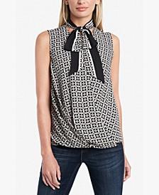 Petite Printed Tie-Neck Top