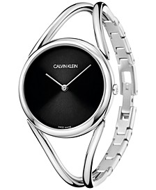 Women's Lady Stainless Steel Bangle Bracelet Watch 33mm
