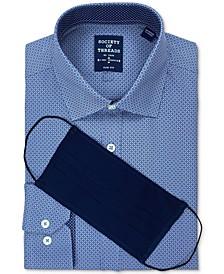 Men's Slim-Fit Non-Iron Performance Stretch Multi Geo-Print Dress Shirt and Mask