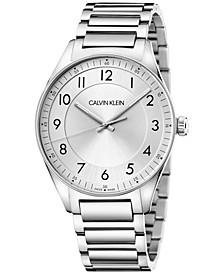 Men's Bright Stainless Steel Bracelet Watch 40mm