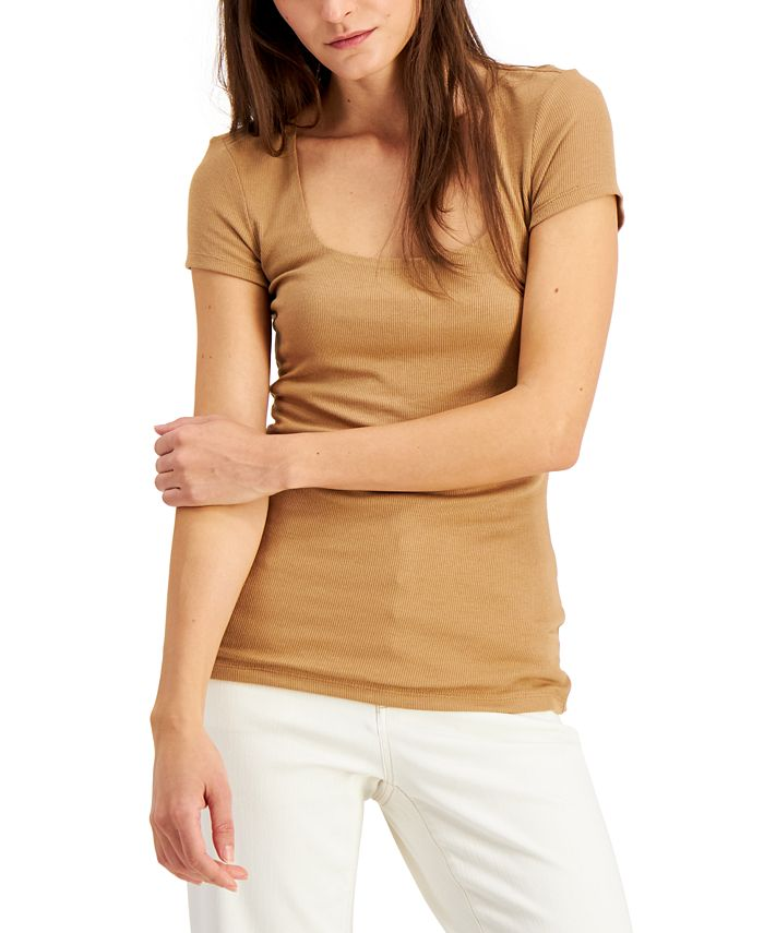 INC International Concepts - Plus Size Square-Neck Ribbed Top