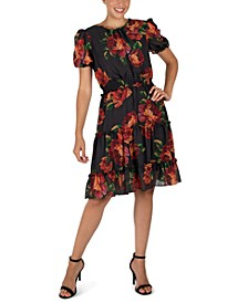Floral-Print Puff-Sleeve Fit & Flare Dress