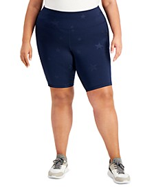 Plus Size Star-Print Bicycle Shorts, Created for Macy's