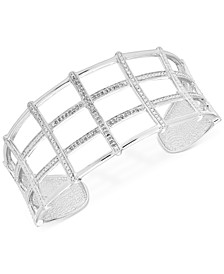 Diamond Openwork Cuff Bangle Bracelet (1/4 ct. t.w.) in Sterling Silver