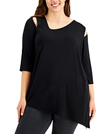 Plus Size Asymmetrical Cutout Top, Created for Macy's