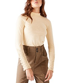 Hooked On You Cotton Embroidered-Cuff Top