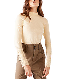Free People Hooked On You Cotton Embroidered-Cuff Top