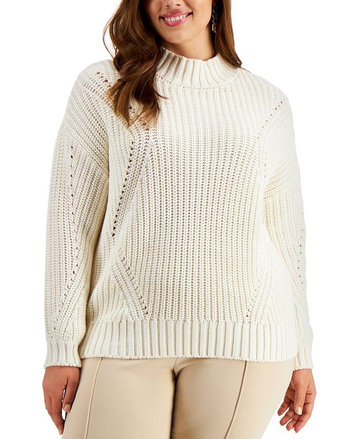 Alfani - Plus Size Pointelle Sweater