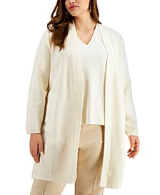 Plus Size Ribbed-Knit Long Cardigan, Created for Macy's
