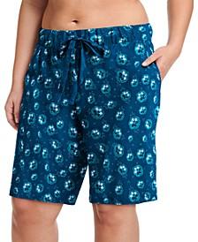 Plus Size Printed Cotton Bermuda Sleep Shorts