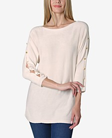 Boat Neck Dolman Split Sleeve Button Trim Sweater