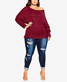 Women's Trendy Plus Size Romance Wool Blend Sweater