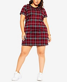 Women's Trendy Plus Size Check Love Dress