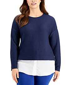 Plus-Size Ribbed Layered-Look Top, Created for Macy's