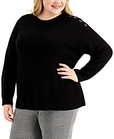 Plus Size Lace-Up-Trim Sweater