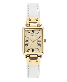 Gold-Tone and White Leather Strap Watch 21.5mm