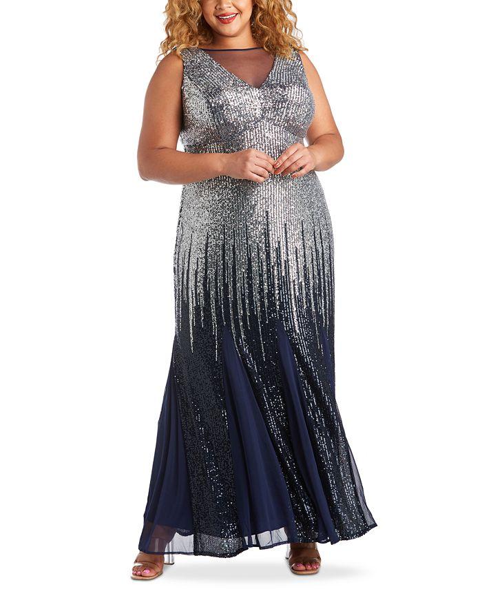 R & M Richards - Plus Size Sequin Ombré Gown
